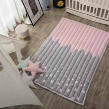 Hot 1.4*1.95m Lovely Cartoon Animals Pink Star Kids Room Carpets Game Floor Mats Crawling Pads Cotton Polyester Picnic/Yoga Rugs