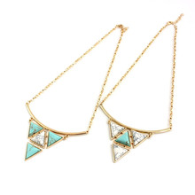 Fashion Triangle Gold Color Turquoise Necklaces Pendant Alloy Women Engagement Gift