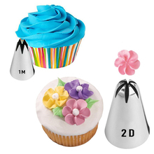 2 Shapes Bakeware Icing Piping Tips Seamless Stainless Steel Pastry Nozzles Cake Cookie Biscuit Buttercream Cupcakes Decoration