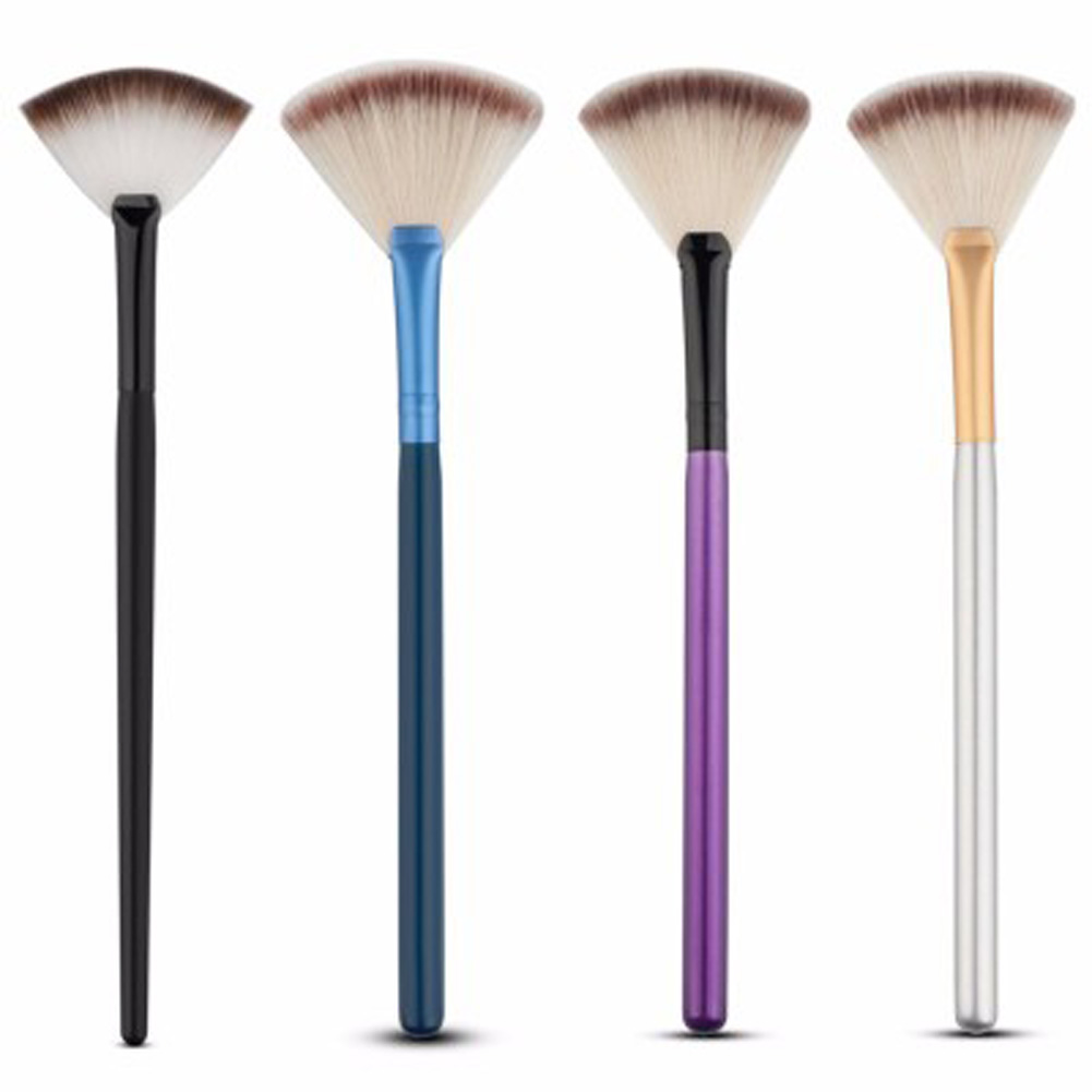 Online color mixer tool - 1pc 2017 Pro Mix Color Makeup Slim Fan Shape Powder Concealor Blending Finishing Highlighter Contour Brush