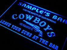 qg-tm Name Personalized Custom Cowboys Leave Your Guns At The Bar Beer Neon Sign Wholesale Dropshipping On/Off Switch