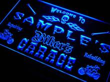 qu-tm Name Personalized Custom Biker's Garage Motorcycle Repair Bar Neon Sign with On/Off Switch 7 colors