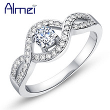 Almei Store Wholesale Flower Rings for Women CZ Zircon Anel Jewelry Silver Color Crystal Ring Bague Anillos My Aliexpress J595