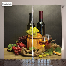 Curtains Kitchen Windows Winery Decor Barrel Bottles Glasses Wine Grapes Wooden Table Brown Green Red 2 Panels Set 145*265 sm