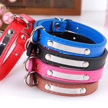 SYDZSW PU Dog Collar Leather Pet Collars for Small Dogs Cats Lettering Chihuahua Leads Adjustable Pet Puppy Collar Wholesale