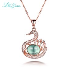l&zuan 6.18ct Topaz Emerald Swan Pendant Necklace 925 Sterling Silver Fine Jewelry Choker Gemstone Pendants Necklaces for women(China)