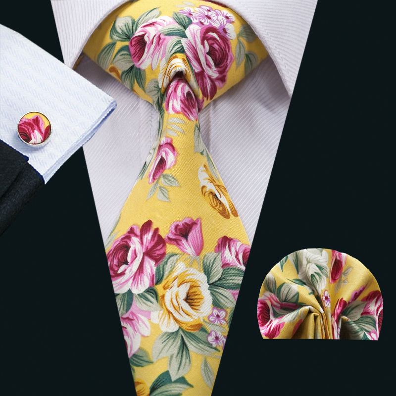FA-1390 Barry.Wang New Arrival Fashion Colorful Cotton Ties For Men High Quality Necktie Hanky Cufflinks Set For Wedding Party