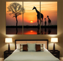3panel Free shipping Original Animal giraffe painting pictures print on the canvas Art wall decor Home wall art picture