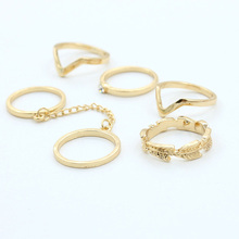 free shipping 6pcs/set High Quality Fashion Ring Jewelry for Women Infinity Gold Mid Nail Knuckle Finger Rings for Women