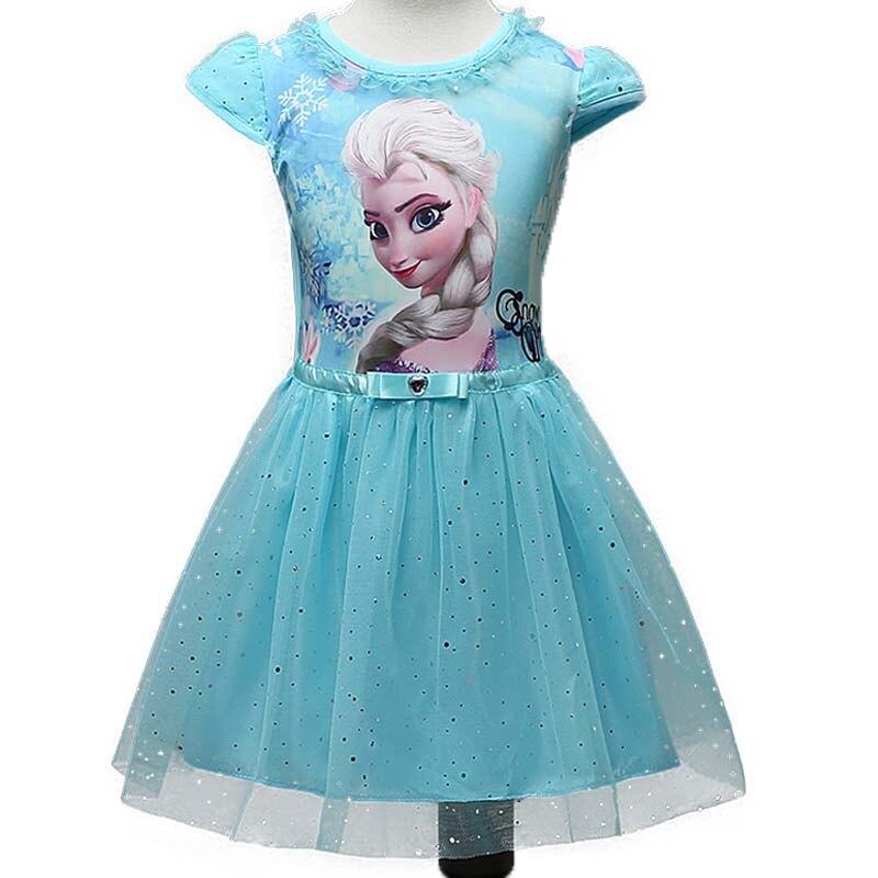2017 Elsa Anna Girls Dress Toddler Ice Snow Queen Dresses Kids Cartoon Sequins Tulle Princess Costume Children Clothes Vestido<br><br>Aliexpress