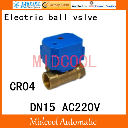 Brass Motorized Ball Valve 1/2 DN15 Water control Angle valve AC220V electrical ball (two-way) valve wires CR-04<br><br>Aliexpress