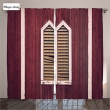 Burgundy and white curtains