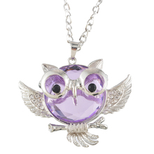 MJARTORIA Lovely Owl Charm Necklace Purple Imitation Gemstone Pendant Necklace Women Ladies Fashion Jewelry Wear Accessories