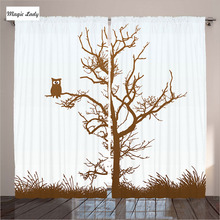 Tree Curtains Living Room Bedroom Owl Autumn Tree Branch Solitary Nocturnal Bird Chocolate Ice Blue 2 Panels Set 145*265 sm