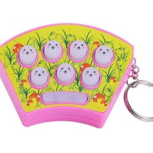 Hot Sales Mini Keychain Playing Hamster Handheld Game Consoles Puzzle Percussion Plastic Toys Color Random(China)
