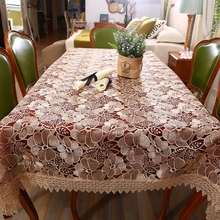 High quality soluble lace hollow embroidery table cloth, elegant design, home, hotel, wedding, transparent glass yarn tablecloth
