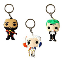 Brand New Funko pop Model Keychain DC Suicide Squad Harley Joker 7cm PVC Figure Key Chain Decorative Toy Wholesale