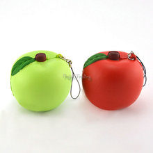 Slow Rising Squishy Squeeze Straps For Cellphone Apple Red Green Pendant Bread Kids Toy Stretchy Gift Cute Phone Straps Charms(China)