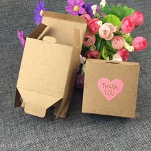 65*35*65mm 50pcs Brown Kraft Craft Paper Jewelry Pack Boxes Small Gift Box For Biscuits Handmade Soap Wedding Party Candy box