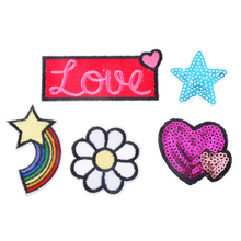 Urijk 5PCs Sequin Applique Stripes On Clothes Iron-On Transfers Patches For Clothing Hats Sticker Embroidered Sewing Accessories