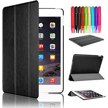 SWEES Luxury Shockproof Leather Smart Flip Tri-fold 360 Full Protective Cover Slim Stand Tablet Case Shell for iPad Air 2 2014(China)