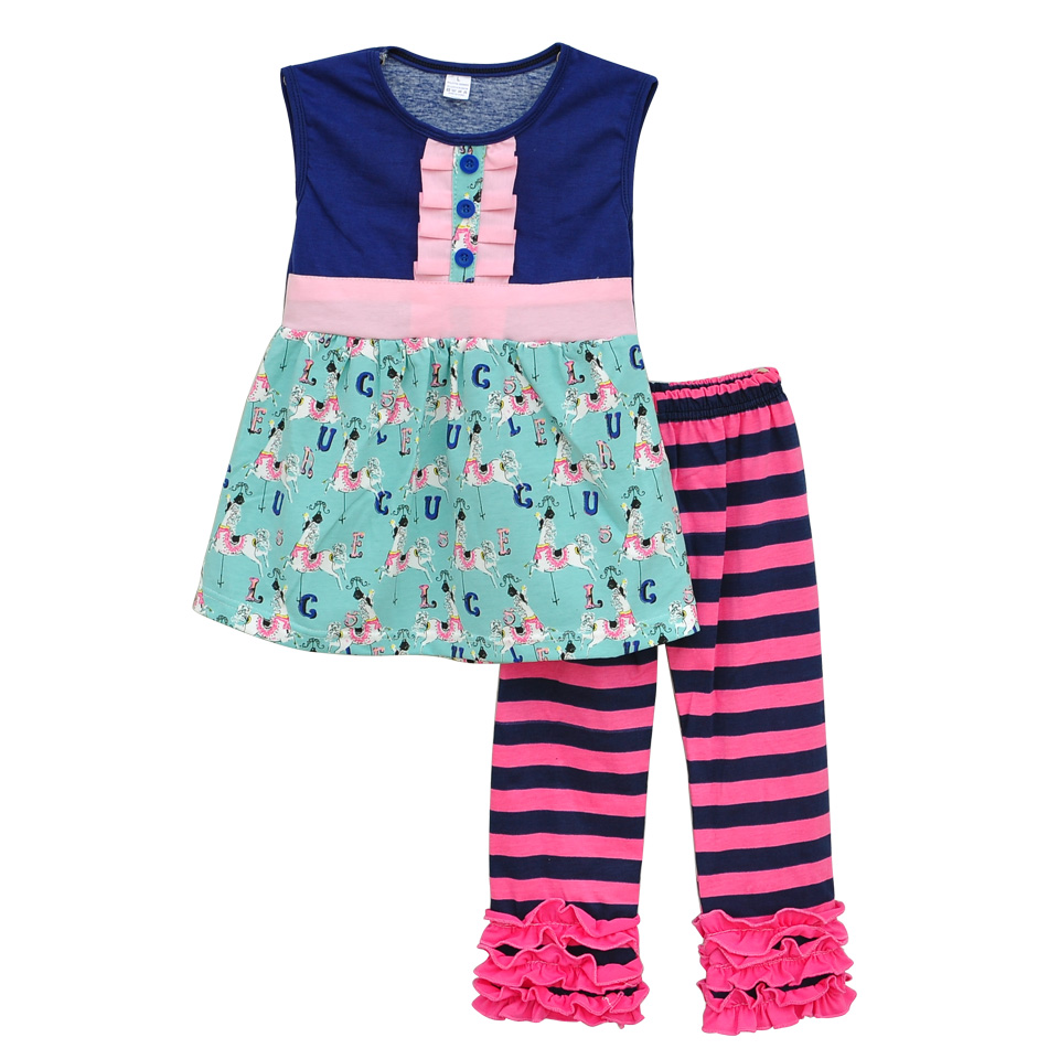 Factory Direct Sale Cotton Girls Summer Clothing Swing Top Stripes Ruffle Pants Boutique Matching Kids Wholesale Clothes S078<br><br>Aliexpress
