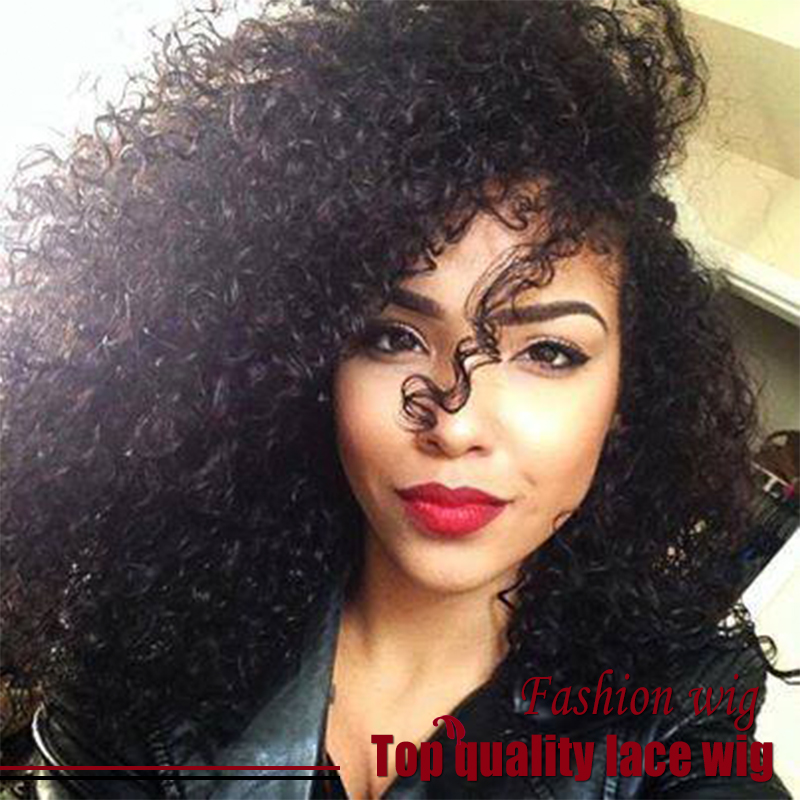 New Arrive Cheap Sale Brazilian Afro Kinky Curly Wig Black 180% Density Synthetic Lace Front Wigs Heat Resistant Free Shipping<br><br>Aliexpress