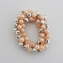 Fashion Women Pure manual nail bead imitation pearl hair band Ponytail Scrunchie Holder Christmas gift