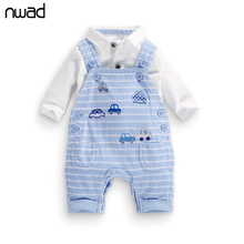 New Spring Autumn Boy Baby Clothing Set Striped Long Sleeve Clothes Set For Kids Children Cartoon Car Print Clothing Suit FF009(China)