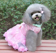 Pet Small Dog Puppy Cat formal Clothes Coat Wedding Costume Satin Rose Formal Dress Tutu