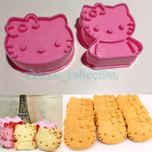 2pcs/1set 3D Hello Kitty Shape Cookies Mould Cake Chocolate Mould Baking Kitchen DIY Cutter Tools Home Handmade Decoration