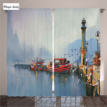 Insulated Curtains Living Room Bedroom Misty Morning Harbor Boats Birds Old Fishing Town Paint Decor 2 Panels Set 145*265 sm