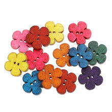 FUNIQUE 50PCs Mixed Flower Sewing Wooden Buttons For Children Clothes Decorative Button Crafts Scrapbooking Accessories 19x18mm(China)