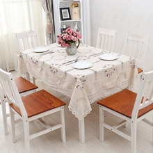 New Hot, high-quality pure cotton tablecloth, family hotel and catering wedding openwork embroidery table cloth, Home Table