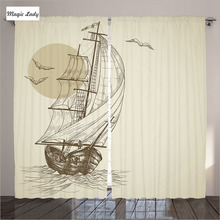 Curtains Double Window Nautical Ship Decor Collection Living Room Bedroom Birds Sea Waves Beige 2 Panels Set 145*265 sm Home