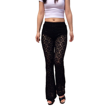 Sexy Lace Crochet Pants Women's Black Loose Perspective Hollow out Print Flared Trousers Leggings