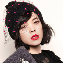 Autumn Winter Fashion Women Vintage Beanie Bobble Decoration Net Veil Crochet Knitted Hat Skullies & Beanies Grey