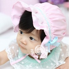 Satin Kids Infant Lace Bowknot Flower Bonnet Hats Beanie Sun Hat For Newborn Baby(China)