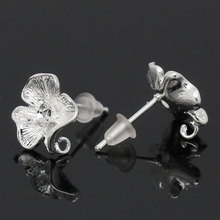 "MJARTORIA 10PCs Silver Color Earring Posts Beautiful Flower Copper Earring Back 17x12mm(5/8""x4/8"") Diy Fine Jewelry Findings(China)"