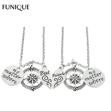 2017 New FUNIQUE Friendship Charm Necklace Round Compass Pendant Necklace No Matter Where Necklace Mother's Day Gift 1set