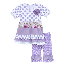 Baby Girls Ruffle Purple Clothing Polka Dots Flower Top Kintted Cotton Pants Boutique Kids High Quality Spring Outfits S071