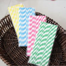 100pcs Striped Straw Blue Yellow Pink Green Colorful Drinking Straws Birthday Party Necessary Supplies