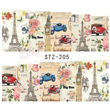 Vintage Paris Style Designs Nail Art Water Transfer Stickers Decals Beauty Full Wraps Manicure Decor Tools 1Sheet