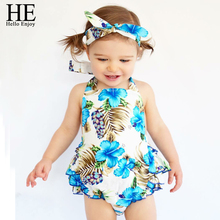Hello Enjoy baby girl clothes summer newborn Brand baby clothing girl infant clothing baby girl Blue band + shirt + panty 3pcs(China)