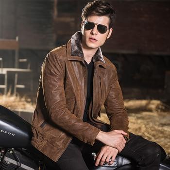 2016 Hommes veste en cuir véritable peau de porc de moto Véritable veste En Cuir hommes chaud en cuir manteau rembourrage coton