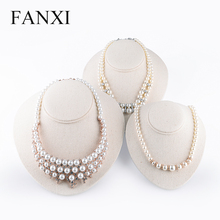 FANXI elegant beige color egg shape jewelry pendant/necklace neck bust display stand for jewelry counter showcase expositor