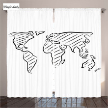 Bedroom Curtains And Drapes Living Room Bedroom Decor Illustration Sketch World Map Art Black White 2 Panels Set 145*265 sm