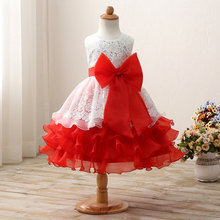 2017 Size 6 7 8 Birthday Party Girl Dress Formal Wedding Ball Children Clothing New year Flower Princess Girls Clothes Kid Dress