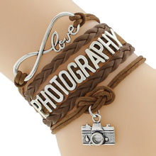 Infinity Love PHOTOGRAPHY sports Bracelet Customize Wristband friendship BraceletsPerfect Gift Idea F-CTSLB0182(China)