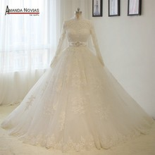 2018 Real Photos Islamic High Neck Long Sleeves Lace Appliques Ball Gown Muslim Wedding Dress(China)